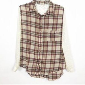 Free People | Plaid Blouse | XS | Cream & Red